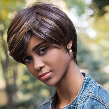 Capless Color Mixed Short Side Bang Straight Synthetic Wig