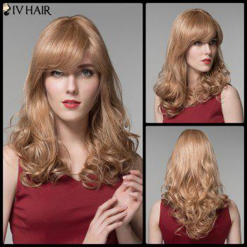 Stunning Long Oblique Bang Wavy Siv Hair Real Natural Hair Wig