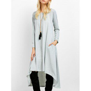 Asymmetric Casual Long Sleeve Tea Length Dress