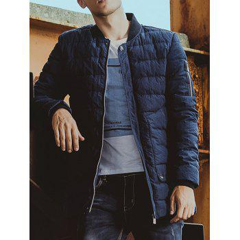 Zippered Stand Collar Pocket Padded Coat