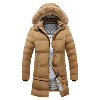 Faux Fur Hooded Zip Pocket Padded Coat