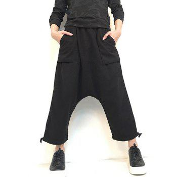Wide Leg Pocket Drop Crotch Ninth Pants