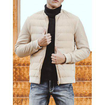Rib Trim Collarless Zip Up Padded Jacket