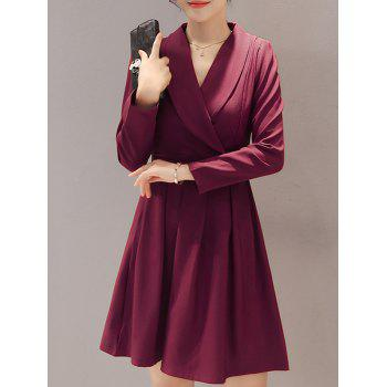 Long Sleeve Wrap Front Work Dress