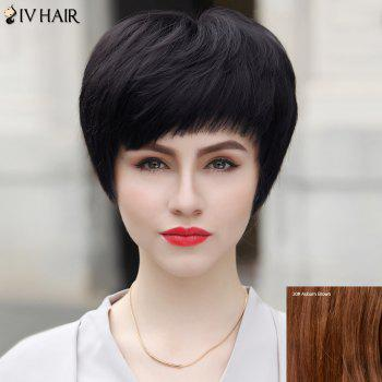 Layered Short Inclined Bang Straight Bob Siv Human Hair Wig