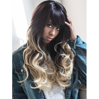 Color Mixed Long Shaggy Wavy Oblique Bang Synthetic Wig