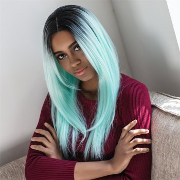 Colormixed Long Shaggy Straight Centre Parting Synthetic Wig
