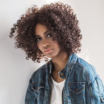 Medium Oblique Parting Shaggy Curly Synthetic Wig