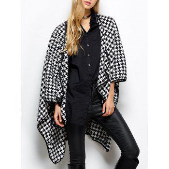 Asymmetrical Open Front Houndstooth Coat
