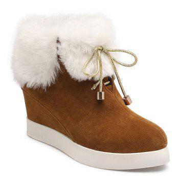 Suede Hidden Wedge Faux Fur Short Boots