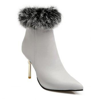 Faux Fur Heeled Ankle Boots