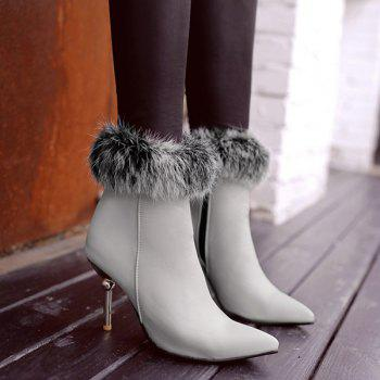 Faux Fur Heeled Ankle Boots - 38 38