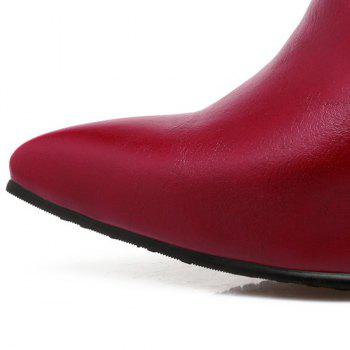 Pointed Toe Chains Rivet Ankle Boots - WINE RED WINE RED