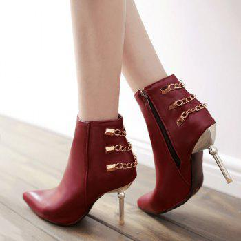 Pointed Toe Chains Rivet Ankle Boots - 38 38