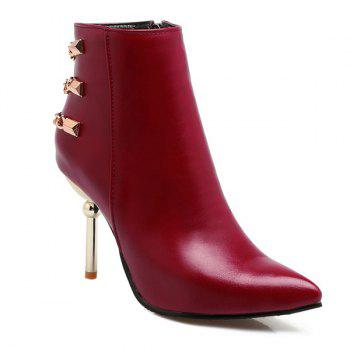 Pointed Toe Chains Rivet Ankle Boots - WINE RED 38
