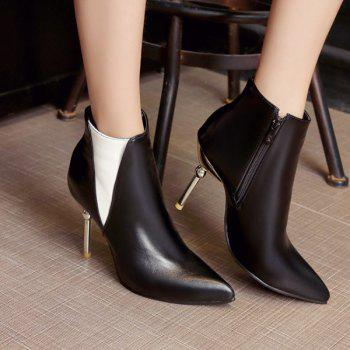 Color Block Pointed Toe Heeled Ankle Boots - BLACK BLACK
