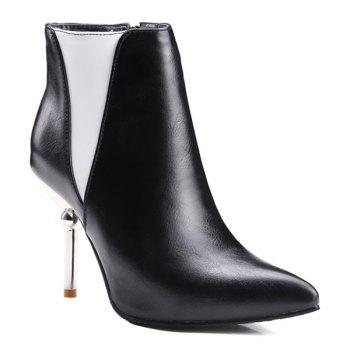 Color Block Pointed Toe Heeled Ankle Boots - BLACK 37