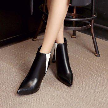 Color Block Pointed Toe Heeled Ankle Boots - 37 37