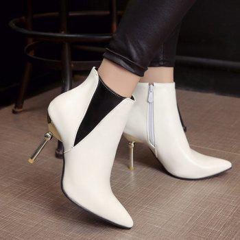 Color Block Pointed Toe Heeled Ankle Boots - WHITE WHITE