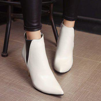 Color Block Pointed Toe Heeled Ankle Boots - WHITE 39