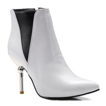 Color Block Pointed Toe Heeled Ankle Boots