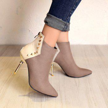 Suede Panel Triangle Rivet Pointed Toe Ankle Boots - KHAKI KHAKI