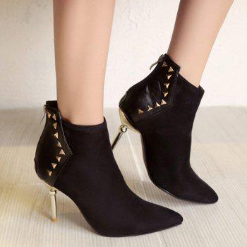 Suede Panel Triangle Rivet Pointed Toe Ankle Boots - BLACK BLACK