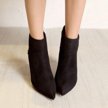 Suede Panel Triangle Rivet Pointed Toe Ankle Boots - 38 38