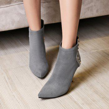 Suede Panel Triangle Rivet Pointed Toe Ankle Boots - GRAY GRAY