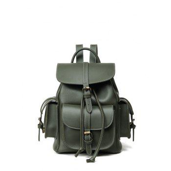 Stitching Multi Buckle Straps Pockets Backpack