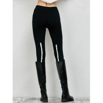 Elastic High Waist Leggings with Zippers