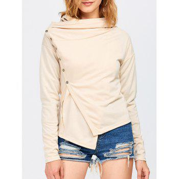 Single Breasted Drop Shoulder Asymmetric Hoodie