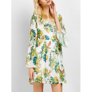 Lace-Up Floral Print Cut Out Bell Sleeve Dress