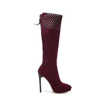 Zipper Platform Hollow Out Boots