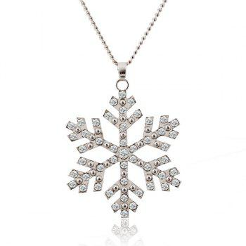 Christmas Rhinestone Snowflake Pendant Sweater Chain - SILVER SILVER