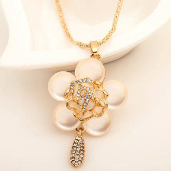 Rhinestone Faux Gem Floral Pendant Sweater Chain - GOLDEN