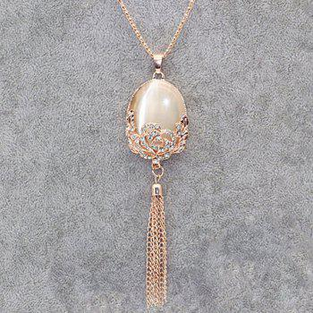 Rhinestone Fake Opal Tassel Sweater Chain - GOLDEN GOLDEN