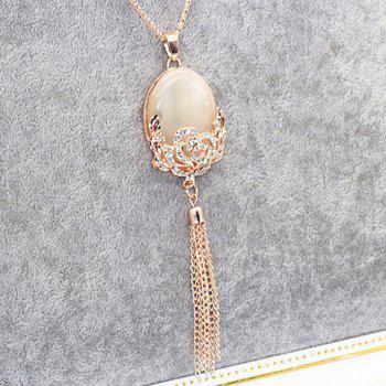 Rhinestone Fake Opal Tassel Sweater Chain -  GOLDEN
