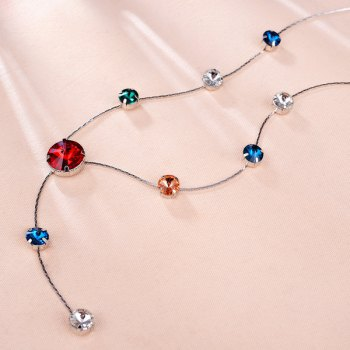 Artificial Crystal Sweater Chain -  RED