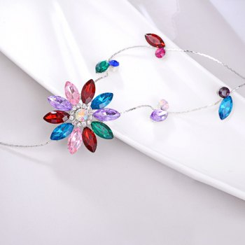 Floral Rhinestone Pull Chain - Rouge
