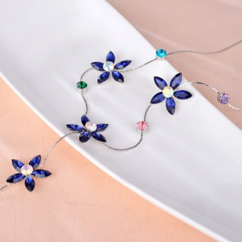 Five Petaled Flower Faux Crystal Sweater Chain - BLUE