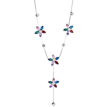Five Petaled Flower Faux Crystal Sweater Chain