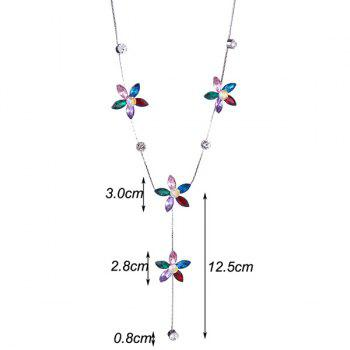 Five Petaled Flower Faux Crystal Sweater Chain -  RED