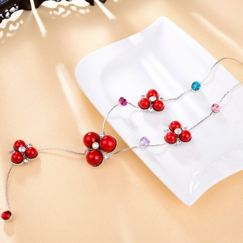 Faux Gemstone Rhinestone Sweater Chain -  RED