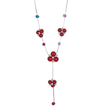 Faux Gemstone Rhinestone Sweater Chain - RED RED