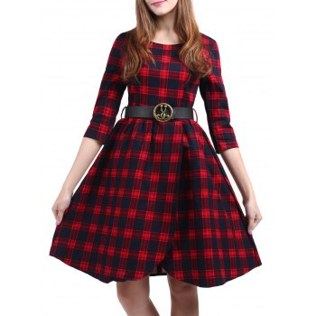 Vintage Plaid Knee Length Pin Up Dress