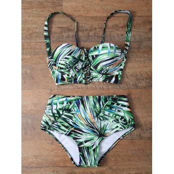 Tropical Print High Waisted Strappy Bikini