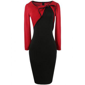 Bowknot Long Sleeve Panel Bodycon Dress