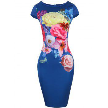Cap Sleeve Floral Print Bodycon Dress