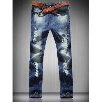 Zipper Fly Pocket Mid Rise Ripped Jeans